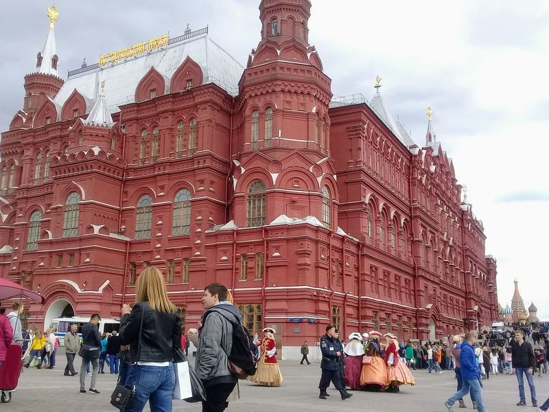 Adult Architecture Building Exterior Built Structure City Day Large Group Of People Leisure Activity Lifestyles Men Moscow Outdoors People Place Of Worship Real People Religion Sky Spirituality State Historical Museum Tourism Travel Destinations Vacations Walking Women