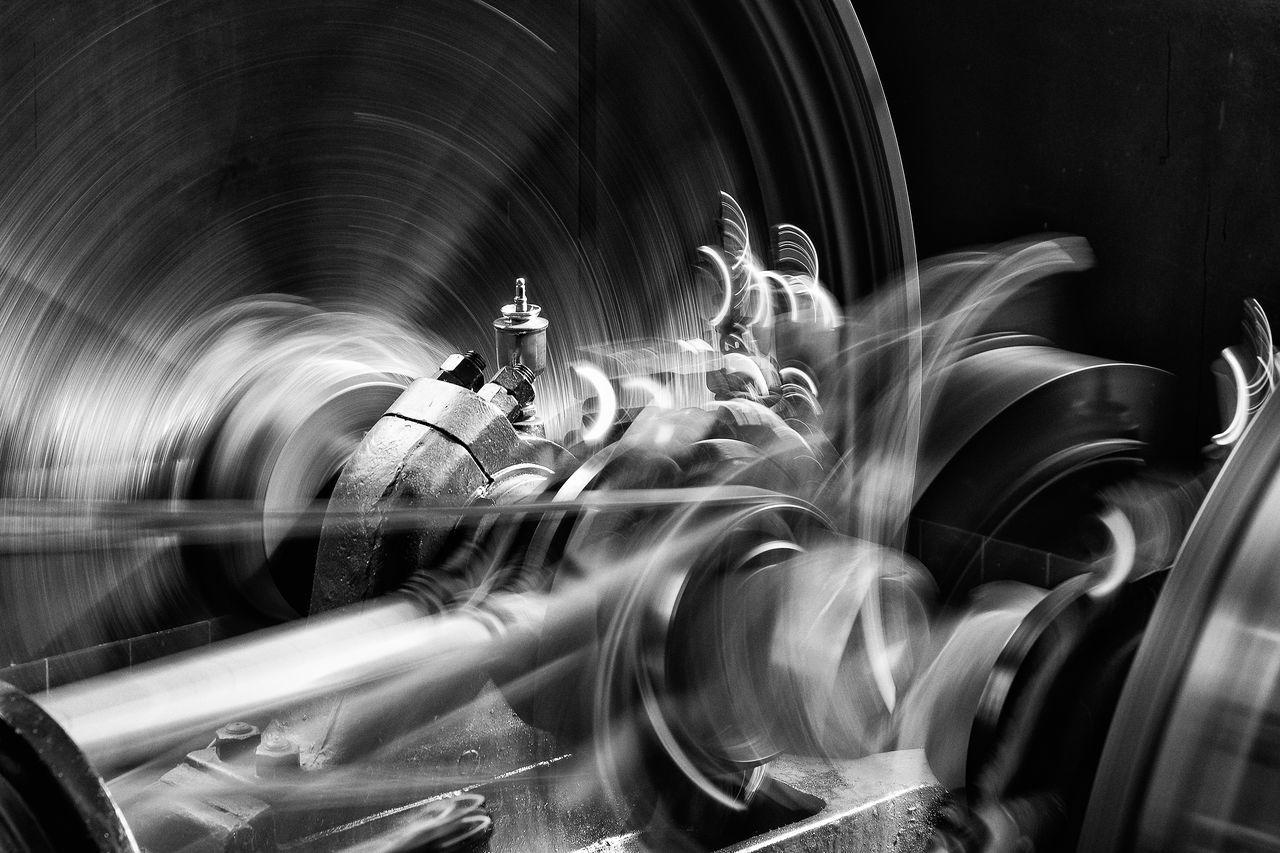 Black & White Blurred Motion Indoors  Long Exposure Machine Modern Times Motion No People Turning Turning Wheels Wheels EyeEmNewHere