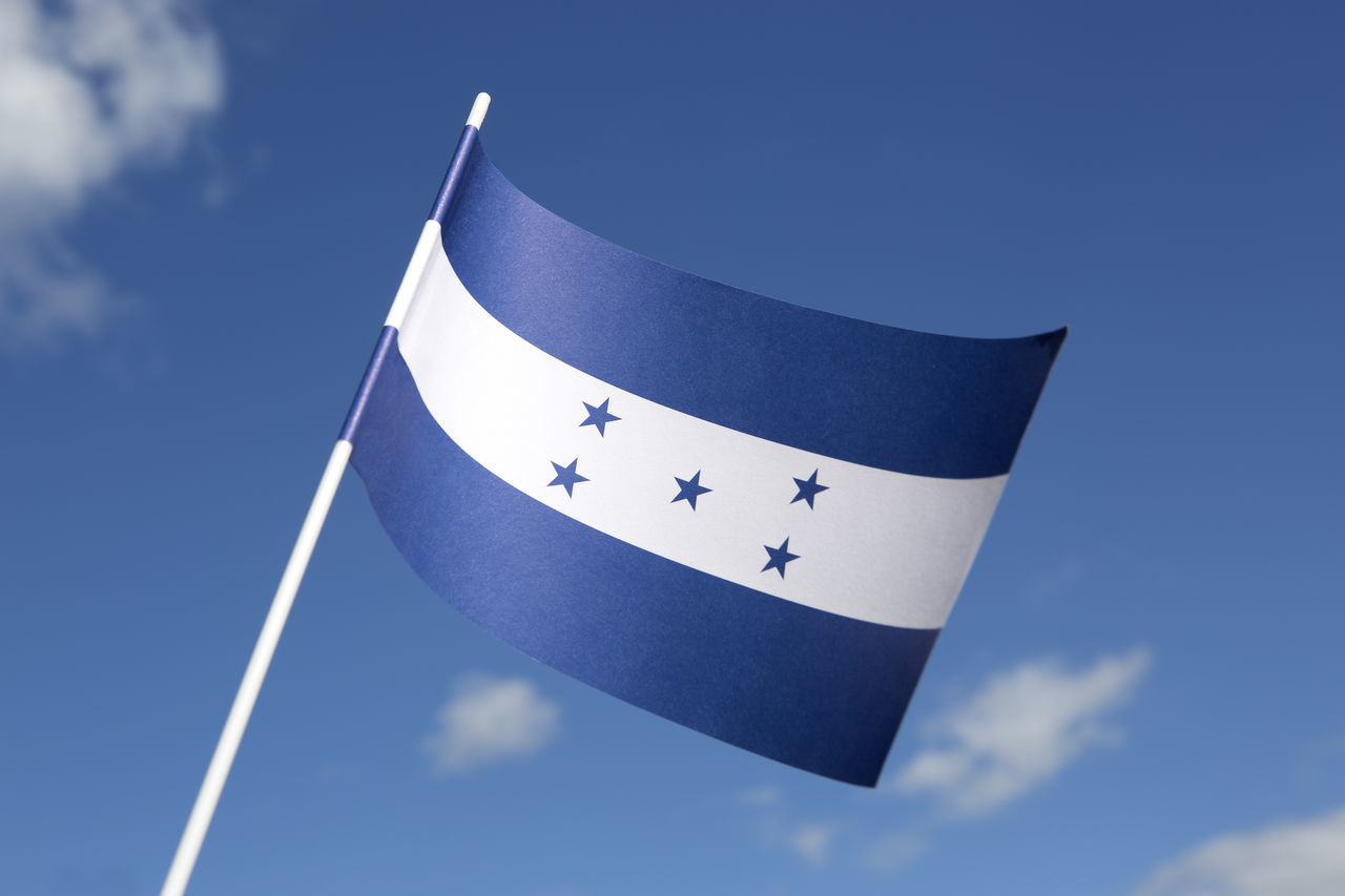 Blue Day Flag Flags Flags In The Wind  Honduras Low Angle View National Flag No People Outdoors Sky