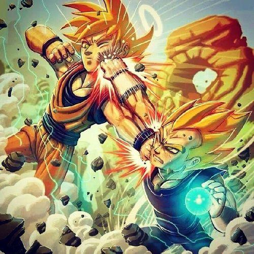 Epic. Vegeta Goku Fighting Majin dragonball dbz awesome classic epic sick fighting like4like greatest rivalry f4f