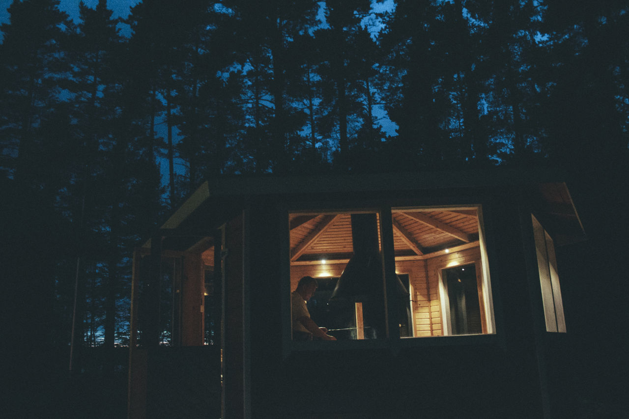 Architecture Illuminated Indoors  Nature Night No People Sky Tree Window