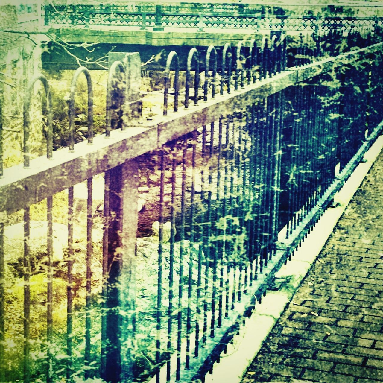 Distressed Metal Fence Tree Day Sunlight Transportation Railing Metal No People Protection Rail Transportation Outdoors Grass Nature Water Fence Photography Vermontphotographer Vintage Style Fence Art Distressed FX Denimdays Perspective Changes Everything Nostalgic  Townphotography Lifestyle Photography Abstract Photography Surrealism