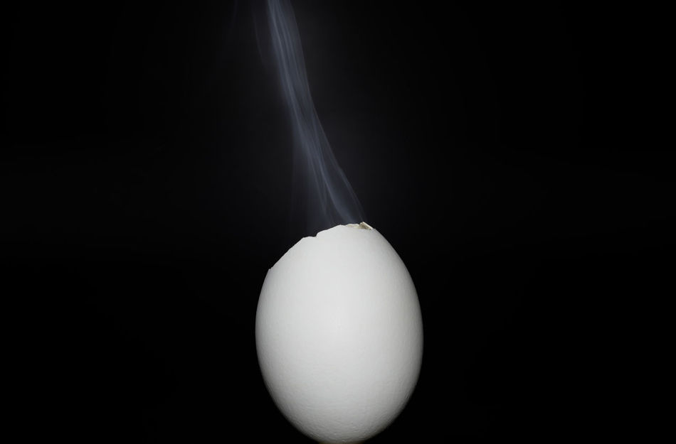 Egg with smoke on black background Animal Themes Beginnings Black Background Black Color Burn Out Business Close-up Day Finance Food Food And Drink Fragility Freshness Front View Healthy Eating No People One Egg Smoke Smoking Studio Shot