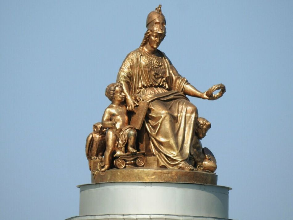 Ekaterina II Athena Goddes Monument On Roof Academy Of Art Embankment Architecture Fine Art Colors Of Sankt-Peterburg Sankt-peterburg Russia