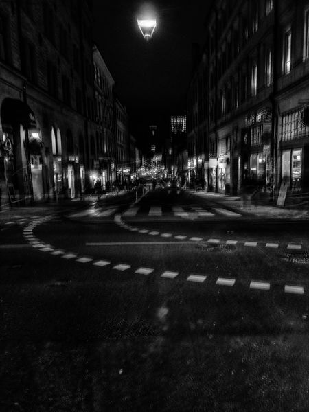Black And White Friday Night Architecture Building Exterior Built Structure Illuminated City Street Outdoors No People Nightphotography Citynights Citylights Blackandwhite Noir