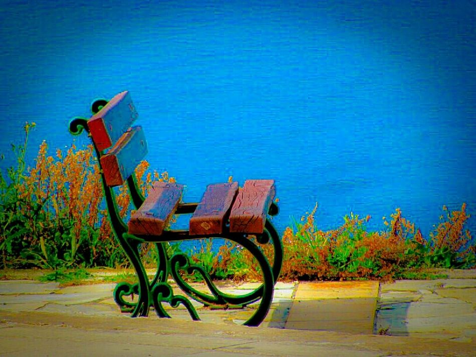 Q Quiet Places A Moment Of Zen... Bench Tranquil Scene Tranquility Peace And Quiet Showcase March Shades Of Blue Blue Horizons No People Crystal Clear Waters Summer Memories 🌄 Summer Is Coming Greece Sea Seaside Seashore Sea View Outdoors Viewpoint Blue Wave Seascape