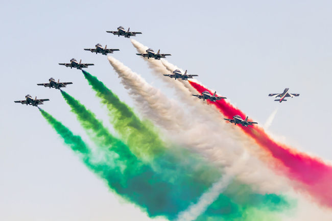 Aerobatic Aerobatics Airshow Alona Cloud - Sky Coordination Day Fighter Plane Flag Flying Frecce Tricolori Italy Low Angle View Mid-air Military Airplane Multi Colored Outdoors Smoke - Physical Structure Success Team Teamwork