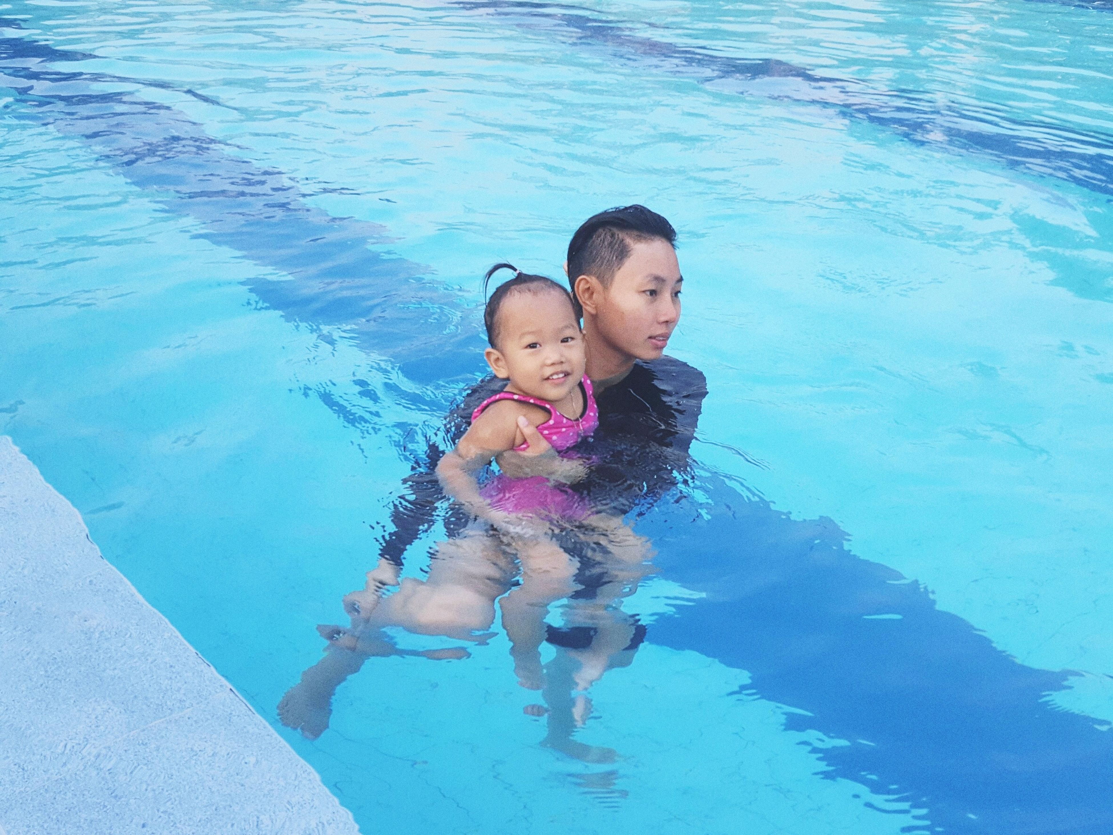 swimming pool, child, two people, water, togetherness, childhood, family, bonding, females, outdoors, people, day, adult