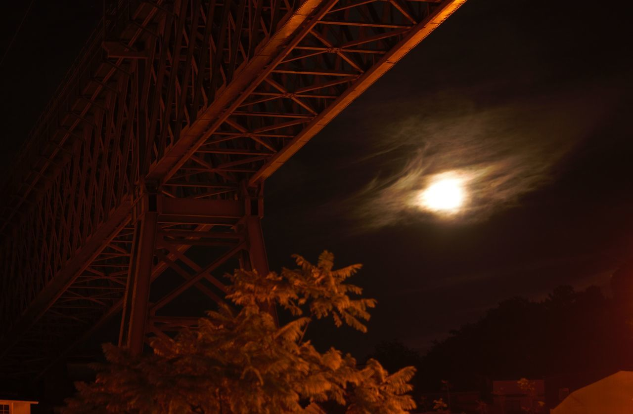 Architecture Astronomy Autumn Colors Built Structure Feather Clouds Illuminated Iron Bridge Low Angle View Moon Nature Night No People Outdoors Sky Super Moon 2016 Train Tracks Tree