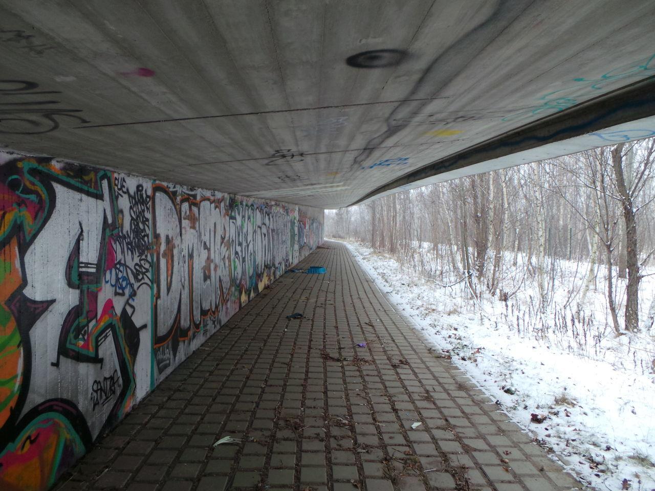 Architecture Architektur Bridge Brücke Bäume Cold Graffiti Kalt Perspective Schnee Snow Trees Walkway Way Weg Winter