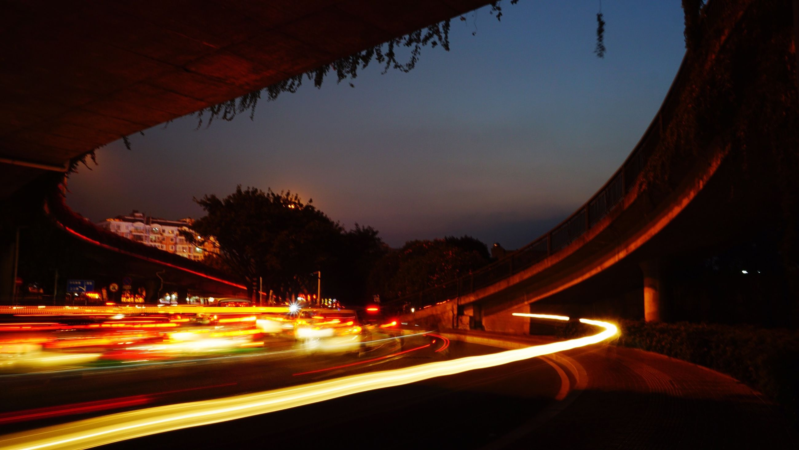 transportation, illuminated, road, car, night, light trail, long exposure, sky, tree, speed, land vehicle, motion, street, the way forward, mode of transport, blurred motion, road marking, on the move, red, traffic