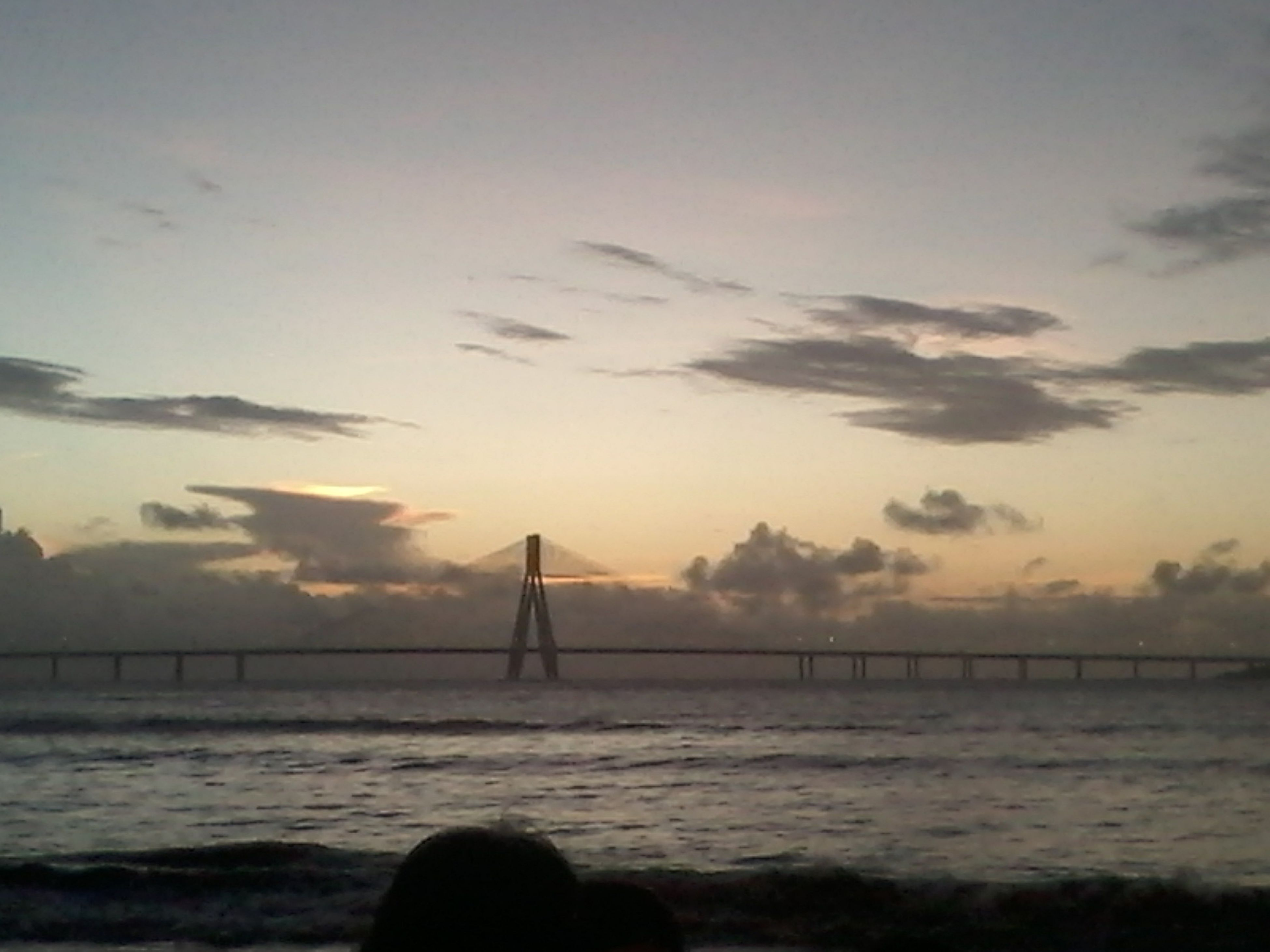 water, sea, sunset, connection, built structure, sky, bridge - man made structure, architecture, scenics, tranquil scene, tranquility, beauty in nature, nature, bridge, silhouette, engineering, horizon over water, suspension bridge, waterfront, rippled