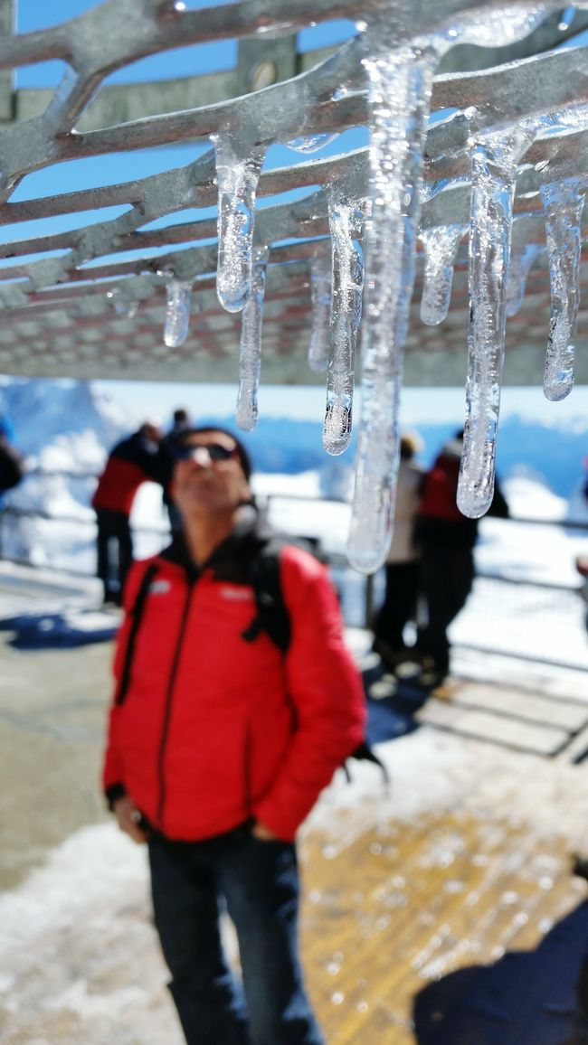Icicles Mountain Alps Red Jacket Aiguille Du Midi