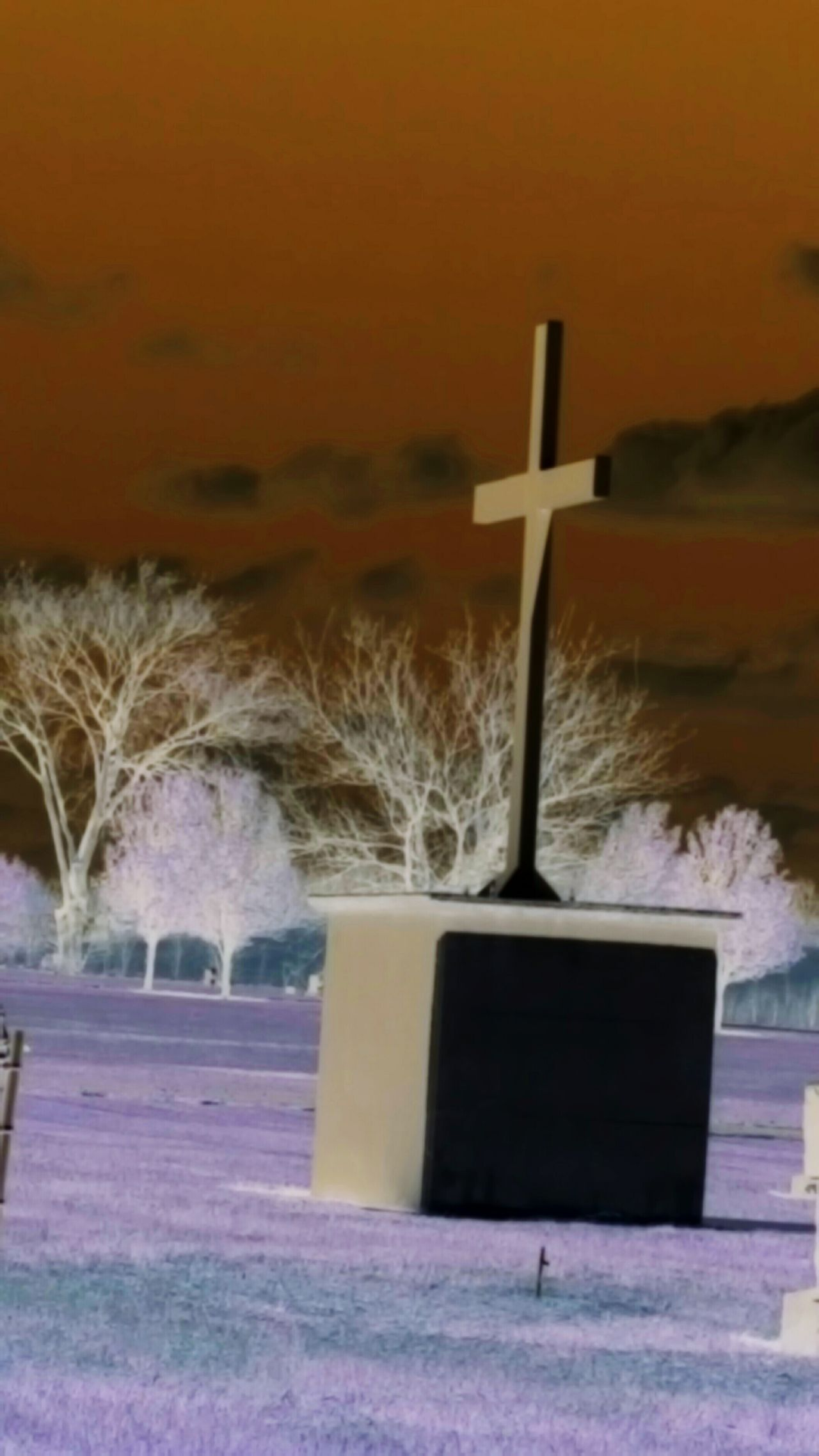 Negative Effect Mypointofview Showcase April Artistic Springtime April 2016 Cemetary Cemetery Photography Cemetery_shots Cemeteryscape Things I Like Lamdscapes With Whitewall Negative Art Landscape_Collection April Showcase Kansas Cross