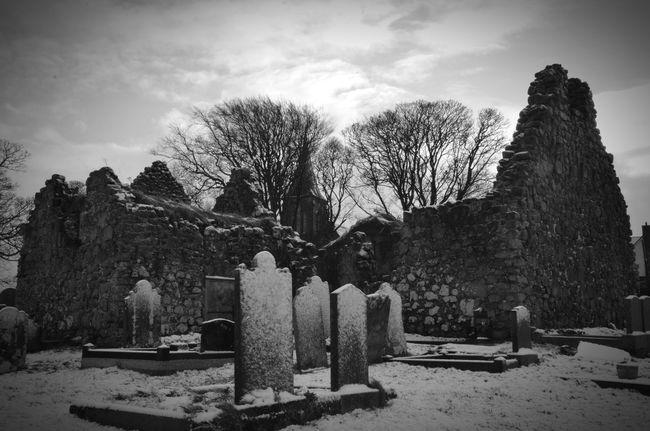 Cemetery Old Buildings Church Headstone Winter Ireland Northernireland