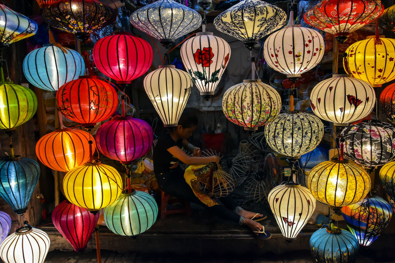 Old Town Artist Craftsman Hoi An Night Vietnam Lanterns Crafts Art Ancient City Outdoors Illuminated Asian  Village Life Skilled Craftsmen Night Scape Lantern Maker Lantern Festival Vietnamese