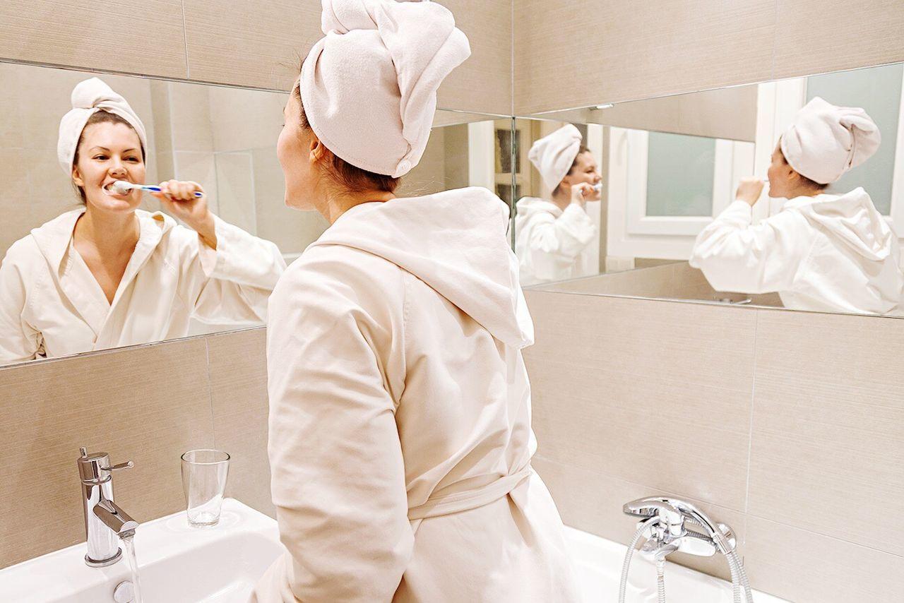 Morning Routine Bathroom Hygiene Getting Ready Happy Girl Mirror Bath Time Pretty Brushing My Teeth