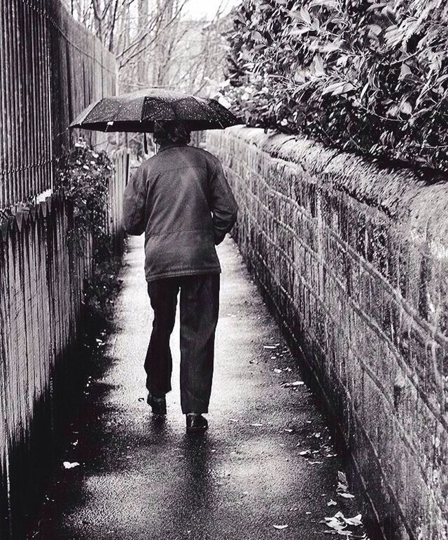 Monochrome Photography Streetphotography One Person Walking Unbrella