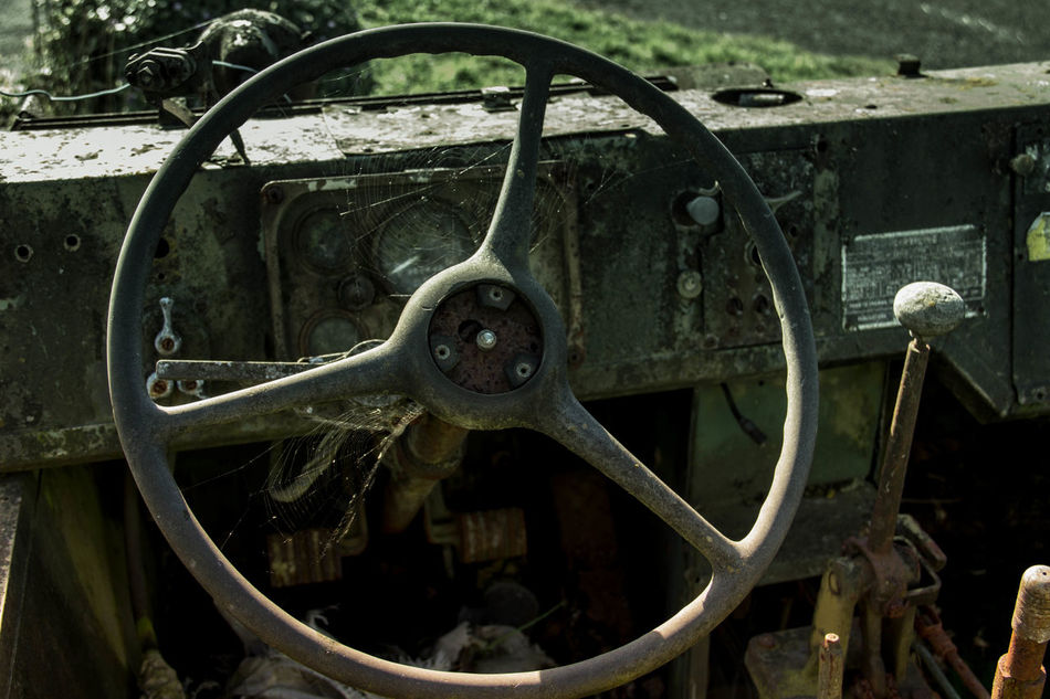 Close-up Day Land Vehicle Metal No People Old-fashioned Outdoors Rusty Rusty Autos Rusty Metal Steering Wheel Transportation Wheel