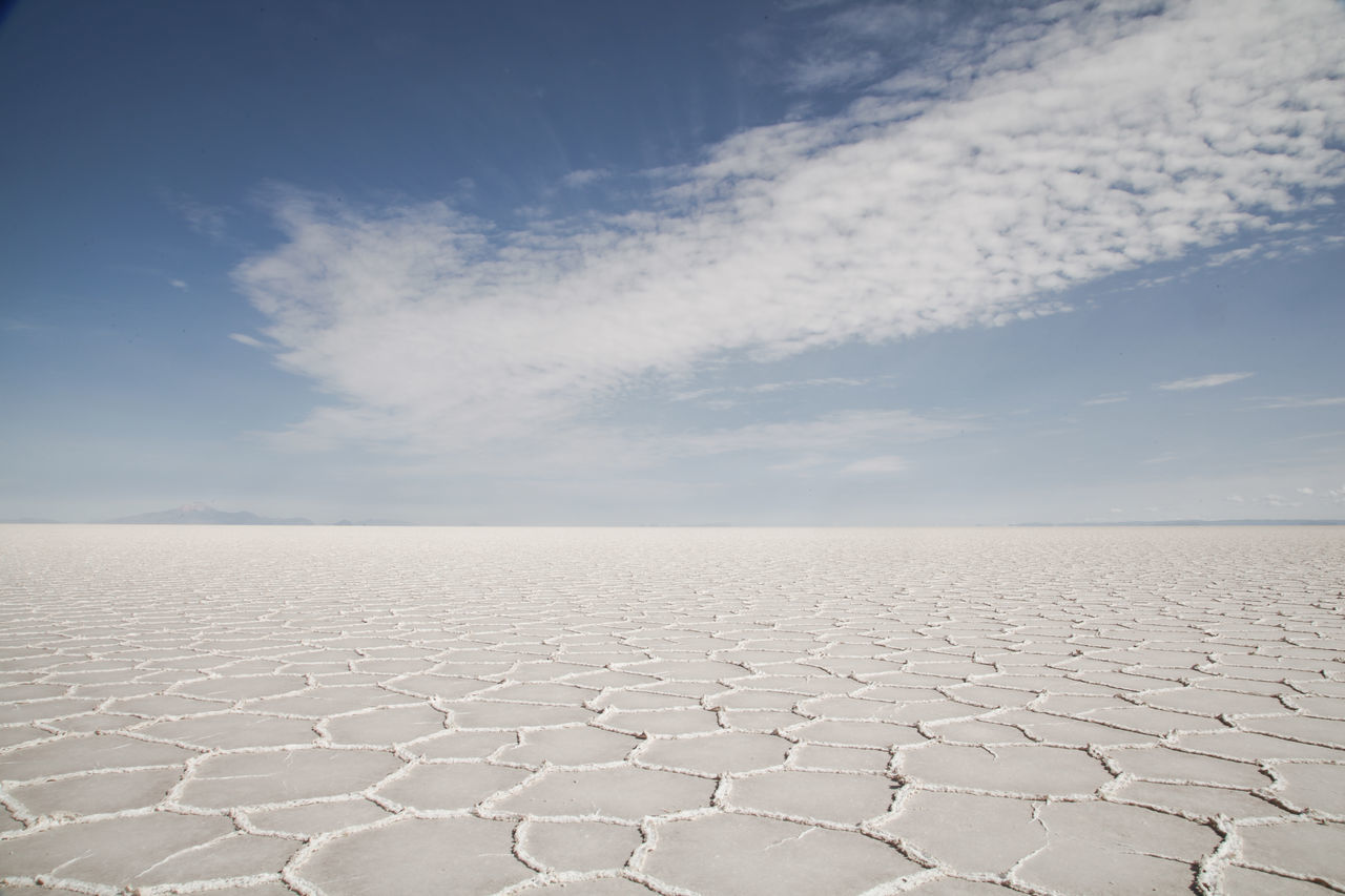 Arid Climate Beauty In Nature Day Desert Empty Landscape Nature No People Outdoors Remote Salt - Mineral Salt Flat Sand Sky