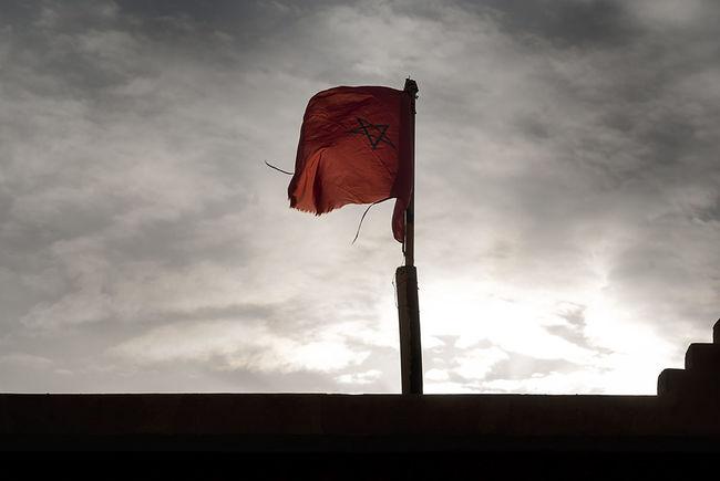 Flag Marocco Outdoors Pentagram Silhouette Sky Sunset