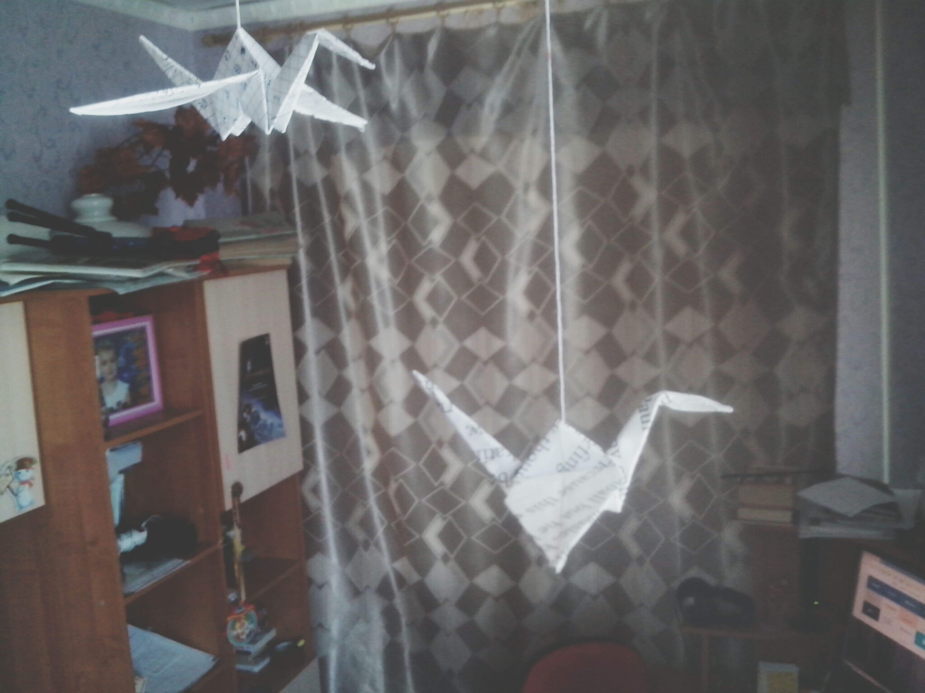 indoors, window, glass - material, paper, hanging, home interior, table, transparent, wall - building feature, day, no people, close-up, architecture, built structure, curtain, textile, part of, high angle view, still life, fabric