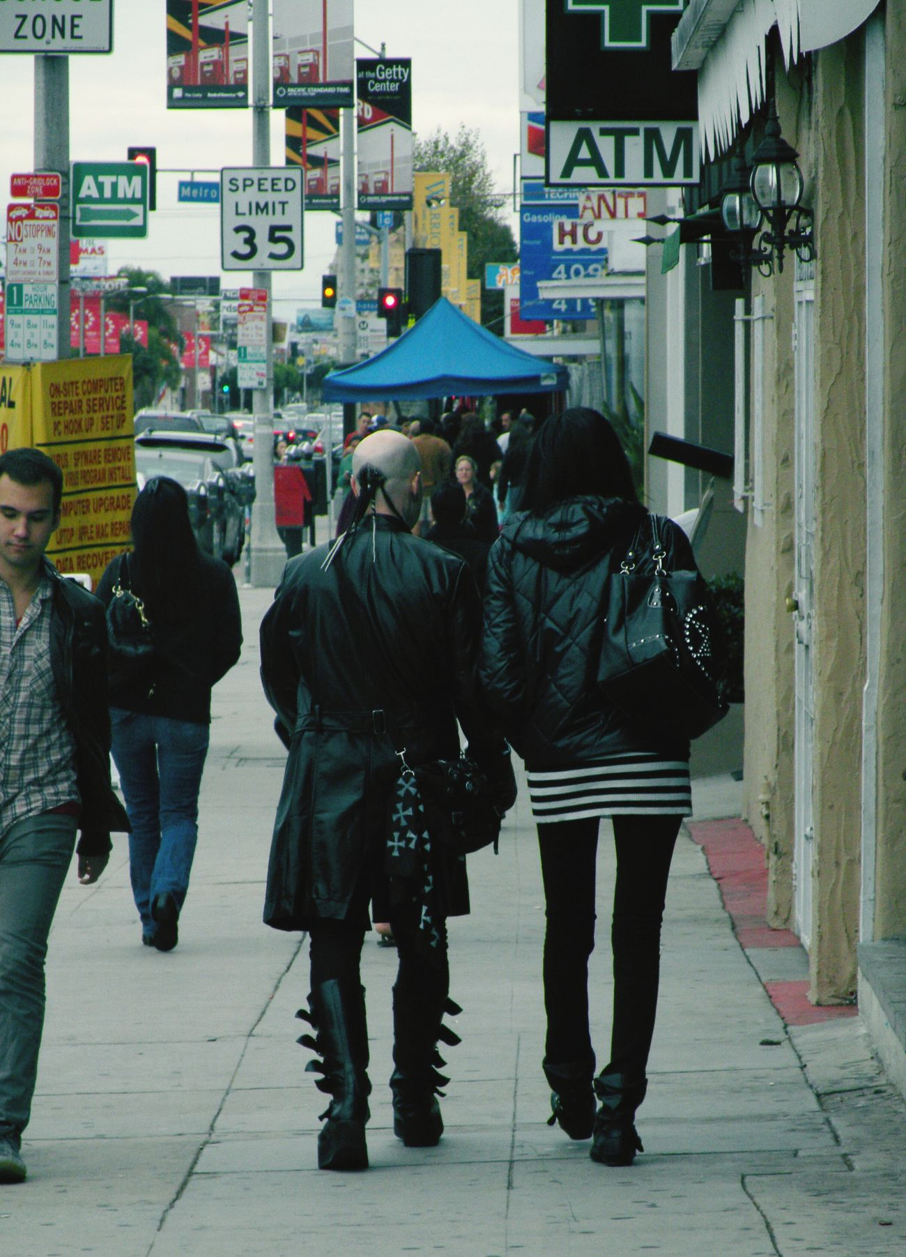 I think this is on La Brea. Going for a hot dog at Pink's on a rainy Saturday Afternoon, near West Hollywood I Love LA Punk Rock City Life Los Angeles, California