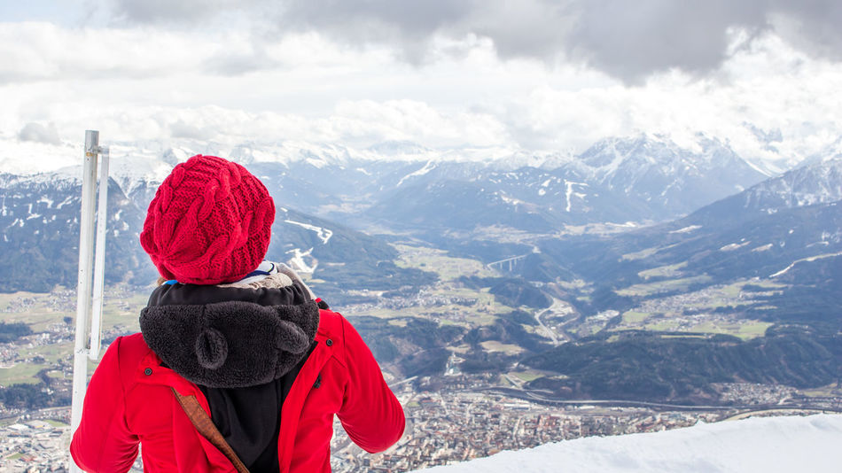 Austria Beauty In Nature Cablecar Childhood Innsbruck Innsbruck View Mountain Mountain View Nordkette Nordkette Cablec Nordkettenbahn One Woman Only Only Women People Real People Red Jacket Tirol  Tirol From My View Warm Clothing
