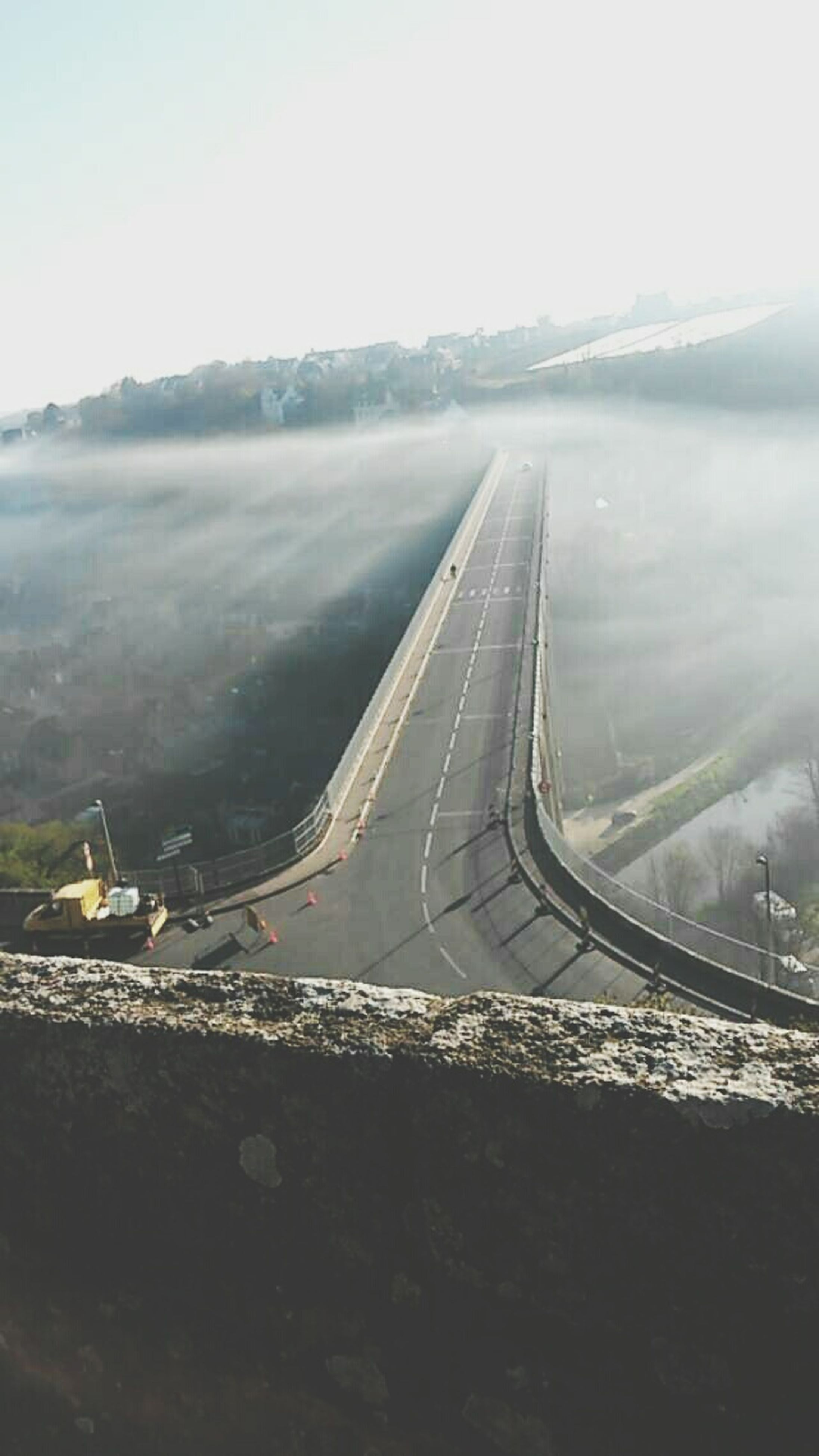 transportation, landscape, mode of transport, mountain, aerial view, sky, clear sky, scenics, nature, high angle view, travel, tranquility, tranquil scene, beauty in nature, road, outdoors, no people, copy space, day