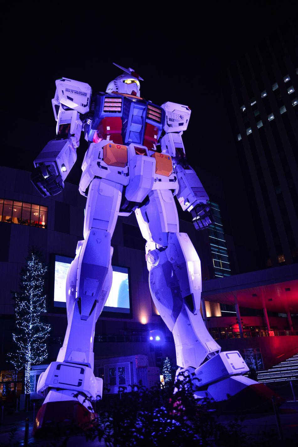 Art And Craft Building Exterior Built Structure Gundam Human Representation Illuminated Low Angle View Night Odiba Sculpture Ultimate Japan