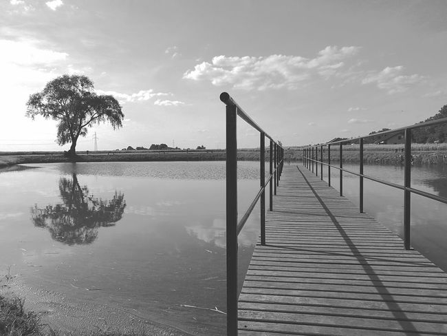 Relax time😁😁😁😁 Railing Water Bridge - Man Made Structure Sea Wood - Material Outdoors Sky Scenics Day Cloud - Sky Horizon Over Water Tranquility Footbridge Beach Tree Nature No People HuaweiP9Photography Huawei P9 Photos Huawei Leica With My Eyes