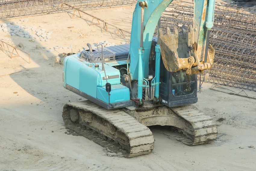 Construction Machinery Construction Site Day Digging Earth Mover Industry Machinery No People Outdoors Quarry Transportation