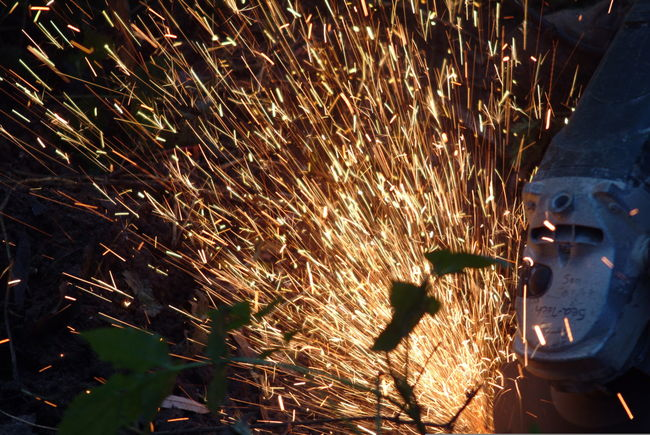Day Horizontal Industry Metal Industry Occupation One Man Only One Person Only Men Outdoors People Person Sparks Sparks Fly Working