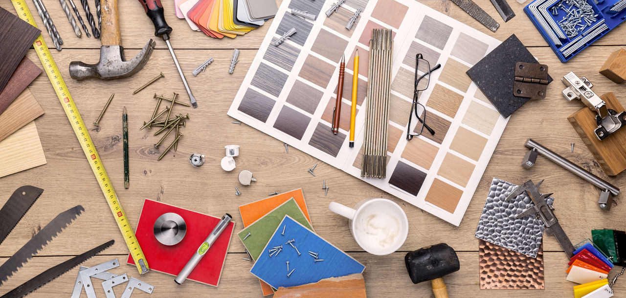 Architecture Business Collection Craft Design Design Professional Do-it-yourself Draw Indoors  Many Office Paper Pattern Set Silllife Supply Table Tools Top View Work Workspace