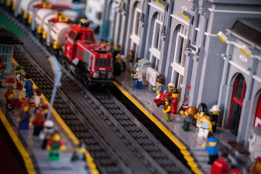 Close-up Dock Large Group Of Objects Locomotive No People Railway Station Dock Toy Toys Train Train Station Wagon  Tilt-shift Figurine