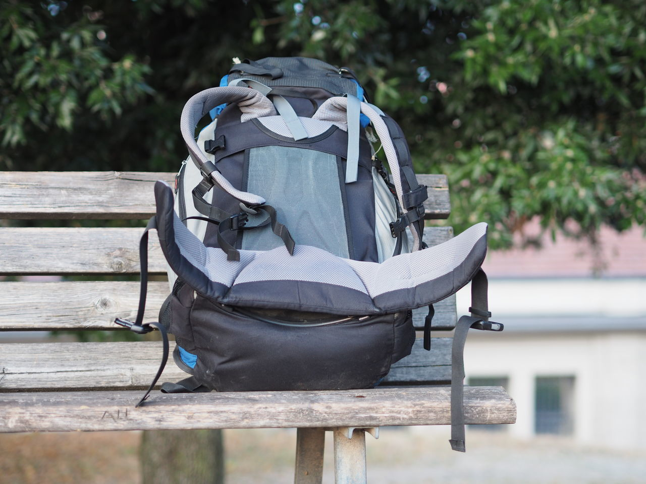 Backpack Backpack On Bench Bench No People Travel Traveling Travelpic