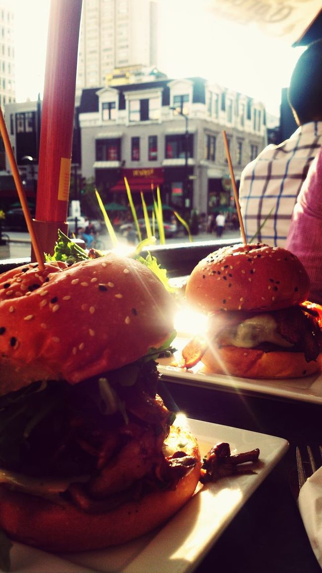Outdoors diner, evening sun Burgers City Montreal Food Delicious