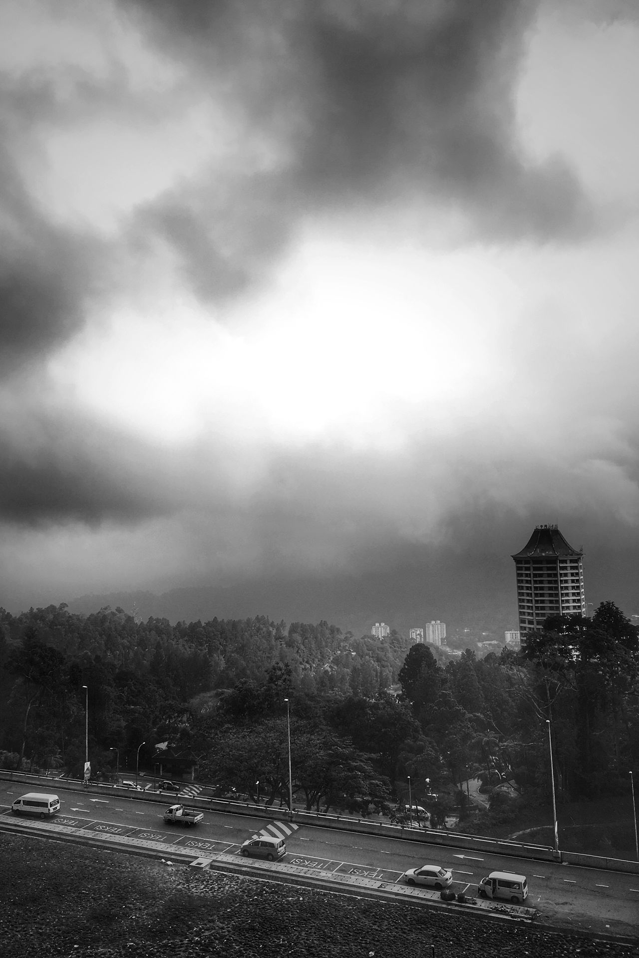 Road Transportation Car Sky Land Vehicle Cloud - Sky Street Outdoors Tree Day No People Road Sign Nature Genting Highlands Genting Highland Premium Outlet Built Structure Building Iphonephoto Iosphoto Working Black And White Breathing Space