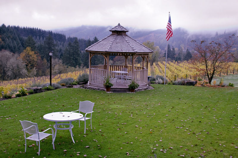 Gazebo at a Winery in Forest Grove, Oregon Architecture Beauty In Nature Built Structure Day Flag Grass Landscape Nature No People Outdoors Patriotism Sky Tree Winery; Autumn; Oregon; American Flag; Willamette Valley; Vineyard; Cloudy; Gloomy; Wine Country; Fall