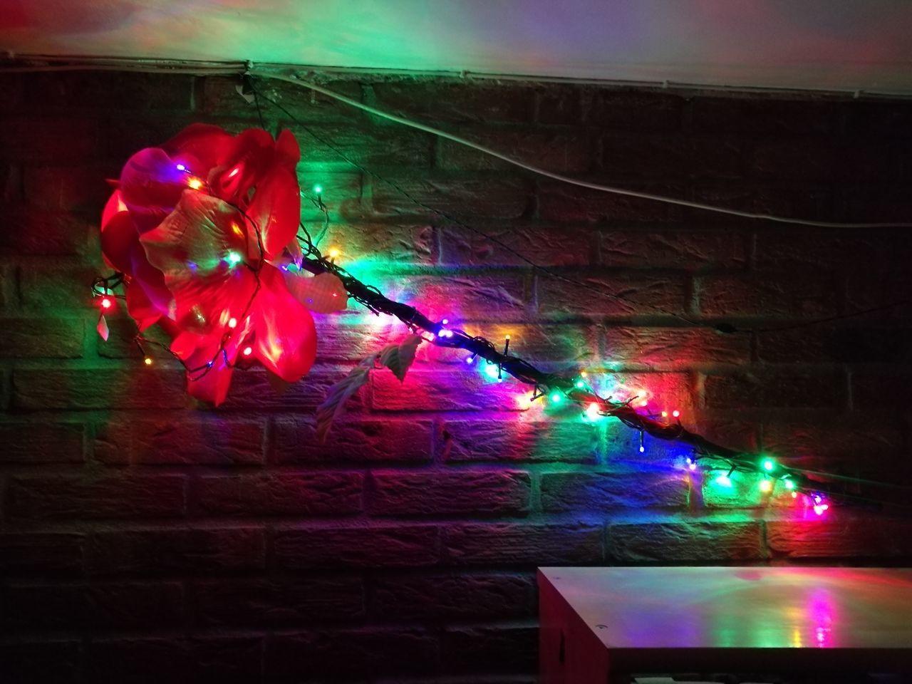 multi colored, illuminated, decoration, lighting equipment, celebration, indoors, night, christmas decoration, christmas ornament, party - social event, red, pink color, no people, christmas lights, balloon, disco lights, nightclub, architecture, close-up