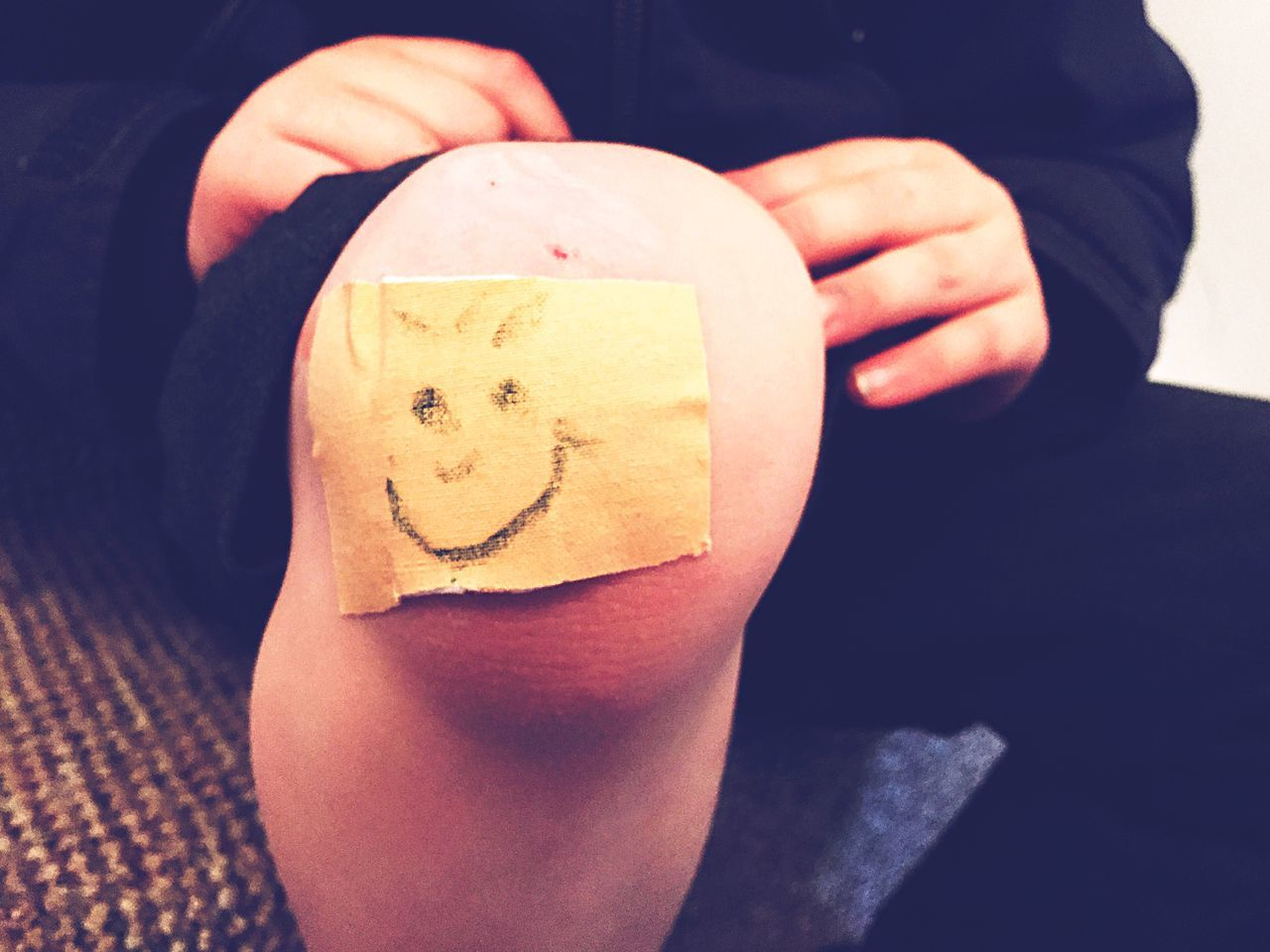 Sore Knee Plaster Smiley Face Child Childhood Grazed Knee