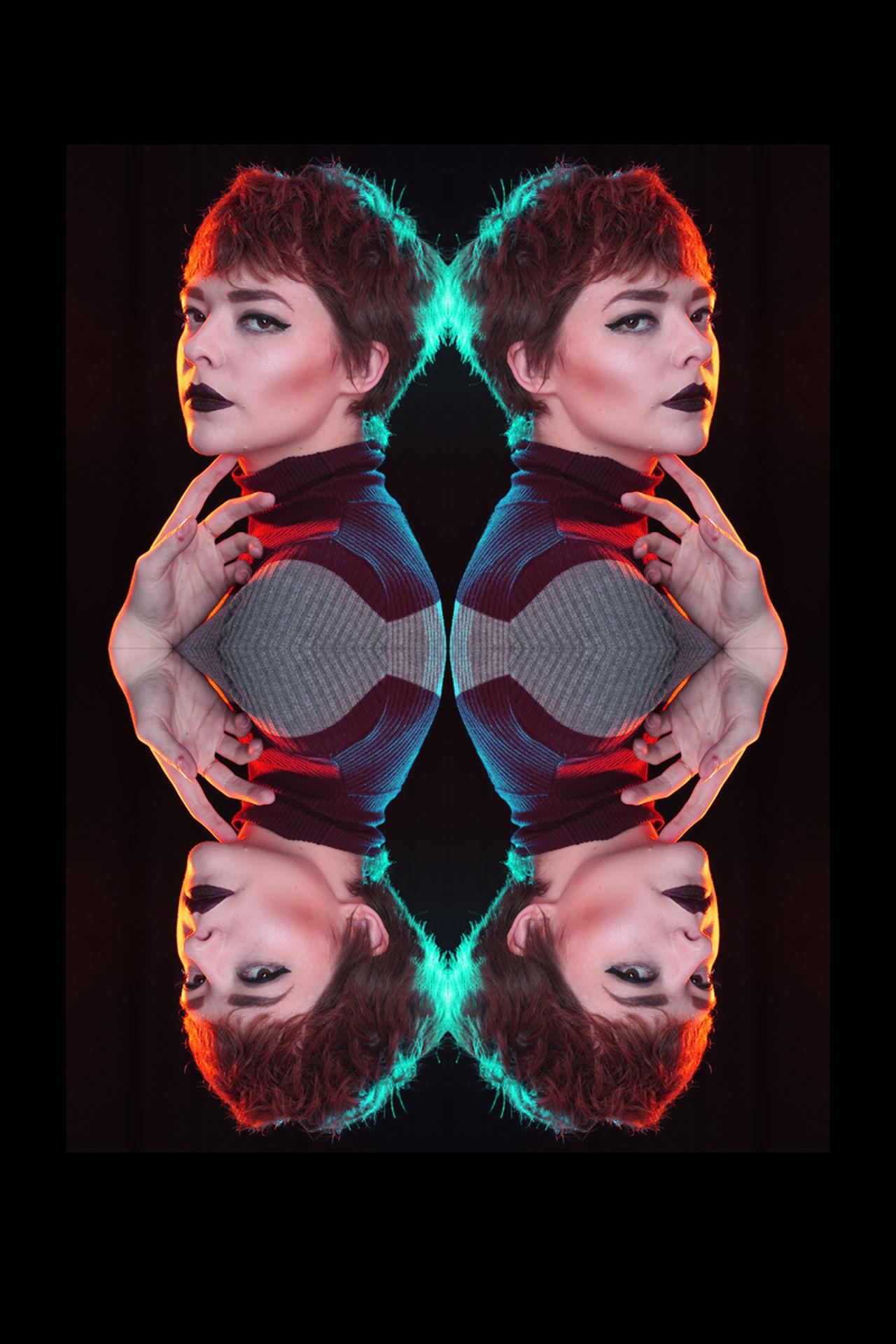 Creative Creative Light And Shadow Gel Lighting Photoshop Portrait Portrait Of A Woman Studio Photography Studio Shot