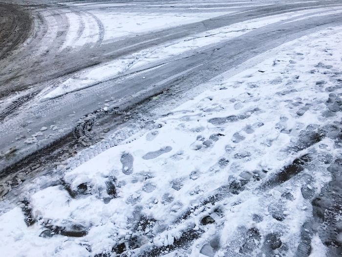 FootPrint Tire Track Street Road Cold Temperature Winter Snow Nature Ice Outdoors No People Frozen