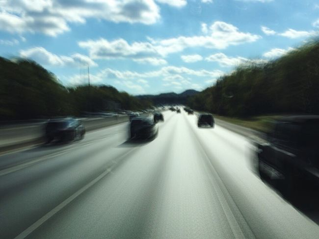 On The Road On The Move Blurred Motion The Way Forward Speed Capturing Movement Transportation Motion Road Highway Sky Keep It Blurry Outdoors Nature Landscape No People Day Forest Winding Road Travel