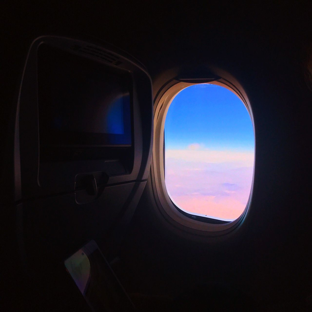 window, vehicle interior, sky, transportation, indoors, airplane, travel, no people, cloud - sky, day