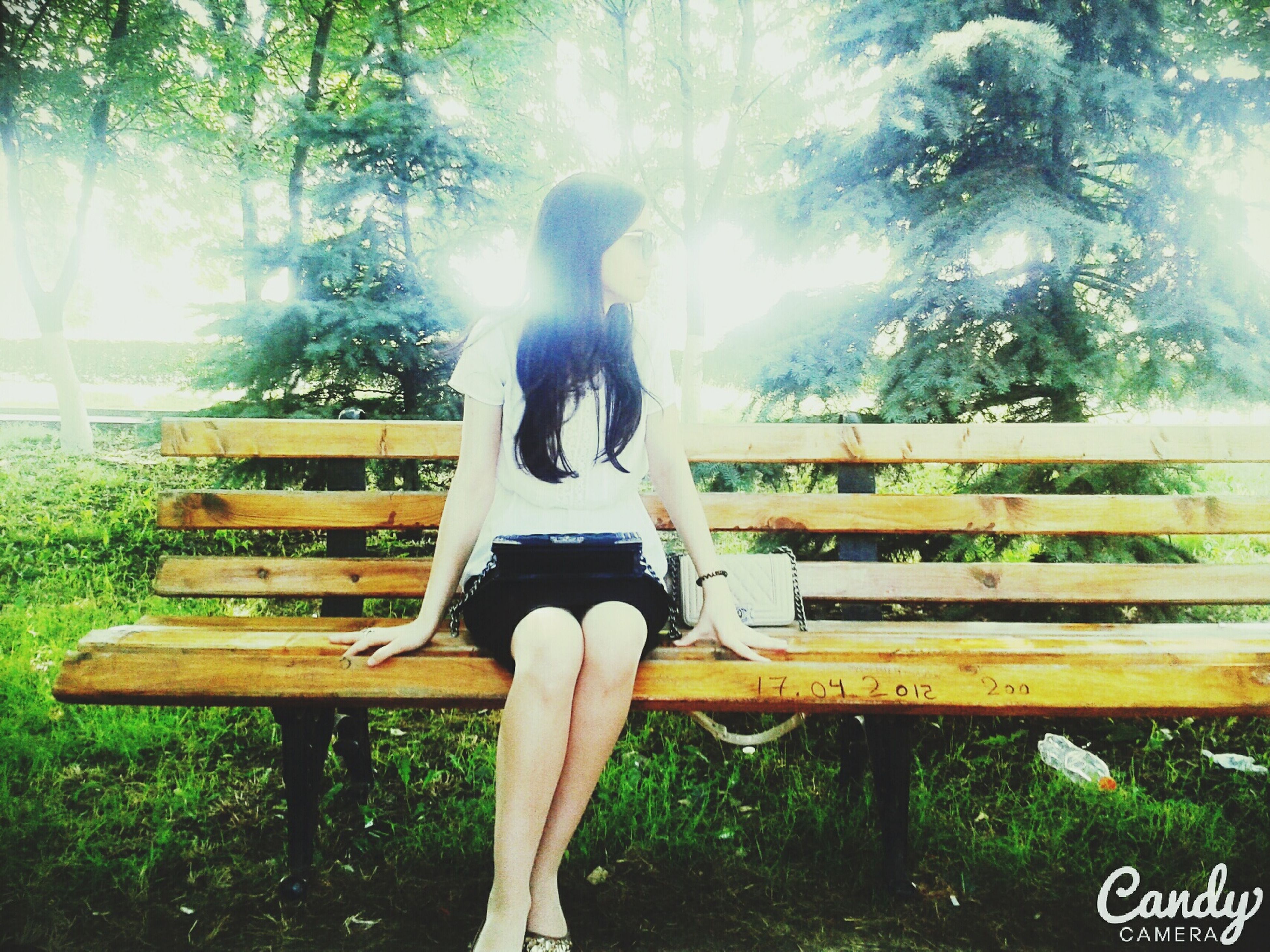 tree, lifestyles, leisure activity, standing, sunlight, three quarter length, casual clothing, outdoors, full length, day, waist up, wood - material, water, railing, person, sunbeam, lens flare, young adult