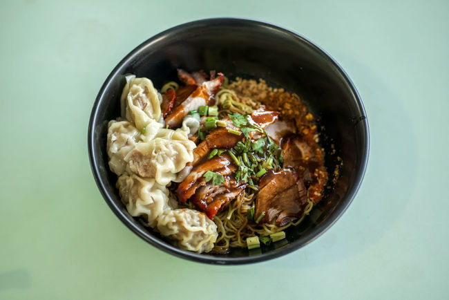 Thai Style wanton noodles Bowl Char Siew Close-up Food Freshness Indulgence Meal No People Noodles Ready-to-eat Served Serving Size Still Life Temptation Thai Food Wanton Mee Wanton Noodles