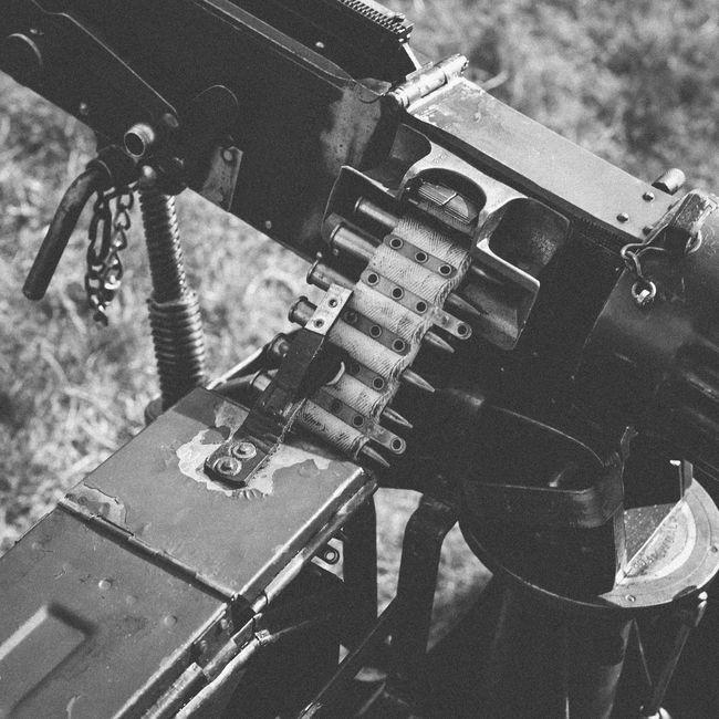 Black and white picture of British world war one Vickers machine gun 303 Ammunition Belt  Black And White Bullets Close-up Destruction Equipment Gun Machine Gun Metal Old Old-fashioned Part Of Technology Vickers Weapon Weapons Of War World War One