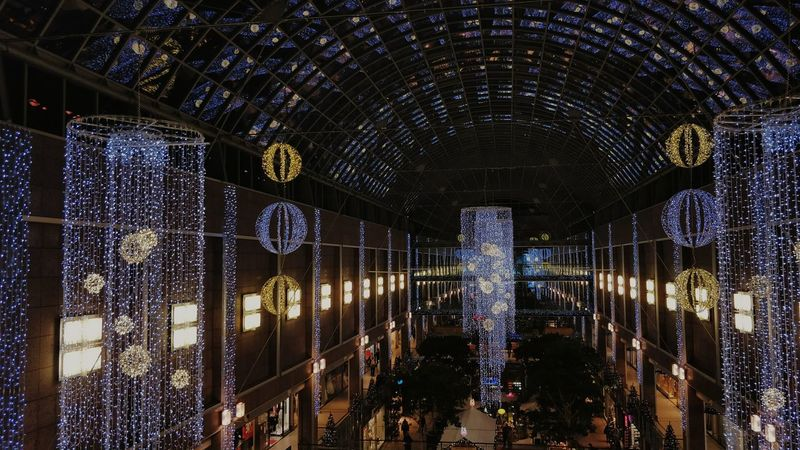 Indoors  Illuminated Architecture Built Structure Night High Angle View Birdperspective Christmas Tree Christmas Decoration Christmas Lights Christmas Market Christmas Lights!  Berlin, Nov 2017