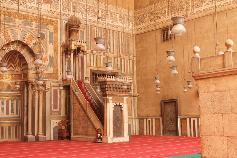 The mihrab and minbar in the mosque of Sultan Hasan, Cairo Cairo Egypt Architecture Interior Mihrab Minhbar Mosque